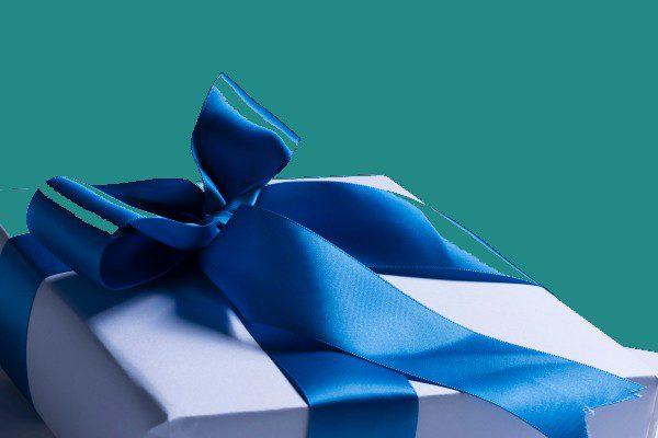 Teal Ribbon Gift Box 6X4