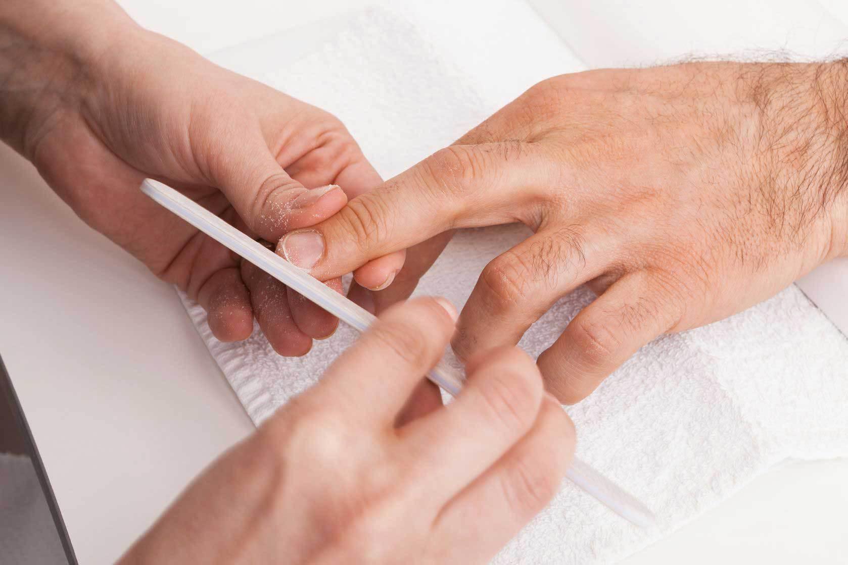 man's hands manicure